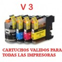 Brother LC-121/ LC-123,V3 pack 4 cartuchos compatibles PREMIUN