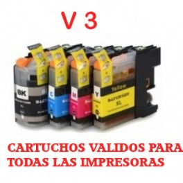Brother LC-121/ LC-123,V3 pack 4 cartuchos compatibles